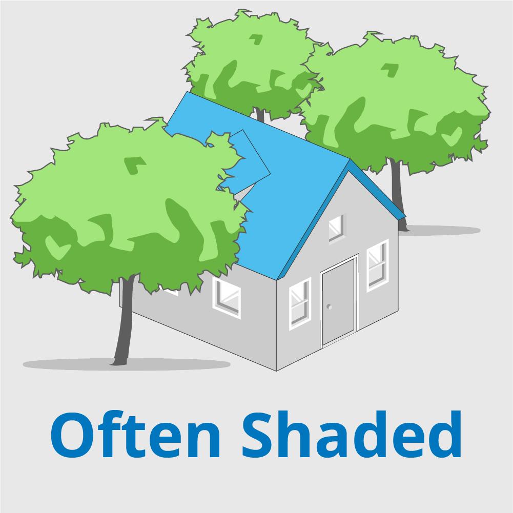 Often shaded